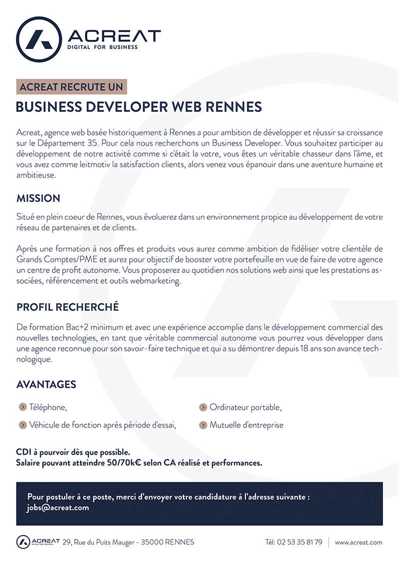 Acreat recrute un Business developer à Rennes